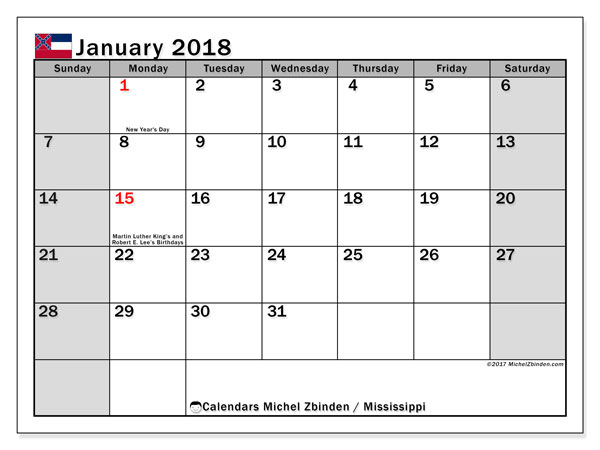 Calendar January 2018, with the holidays of Mississippi. Free calendar to print.