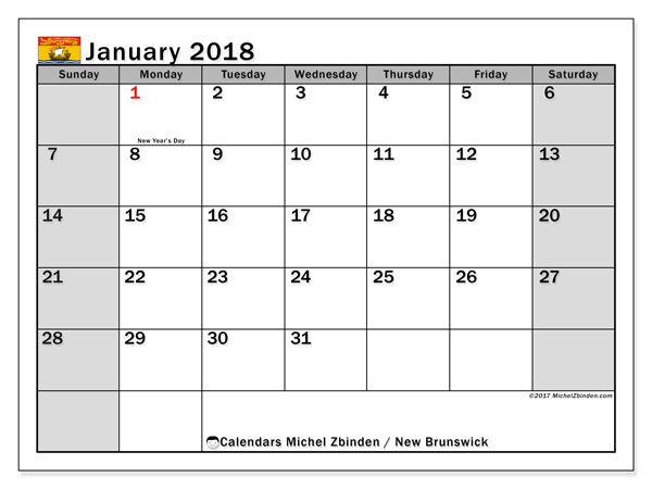 Calendar January 2018, with the holidays of New Brunswick. Calendar for the month to print free.