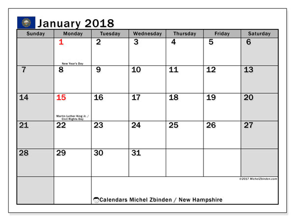 Calendar January 2018, with the holidays of New Hampshire. Free planner to print.