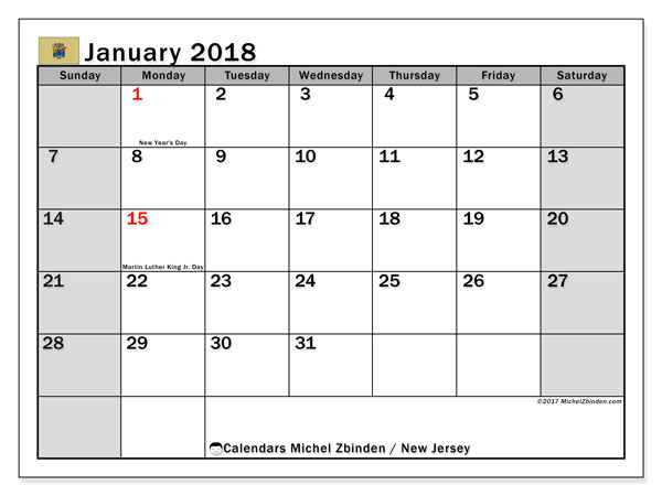 Calendar January 2018, with the holidays of New Jersey. Free calendar to print.