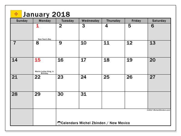 Calendar January 2018, with the holidays of New Mexico. Monthly planner to print free.