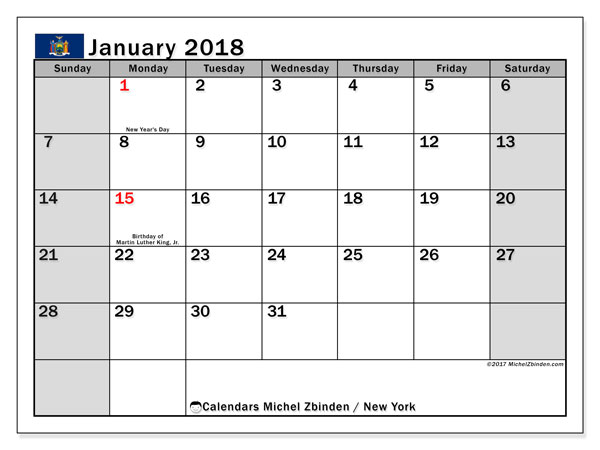 Calendar January 2018, with the holidays of New York. Calendar for the month to print free.
