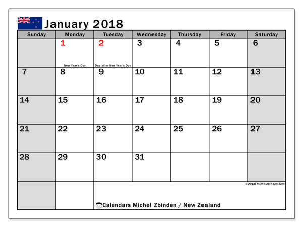 Calendar January 2018, with the holidays of New Zealand. Monthly planner to print free.