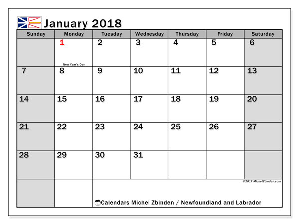 Calendar January 2018, with the holidays of Newfoundland and Labrador. Monthly calendar to print free.