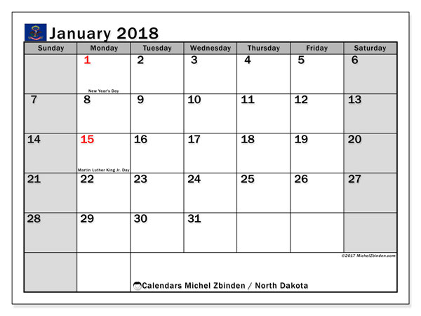 Calendar January 2018, with the holidays of North Dakota. Free printable calendar.