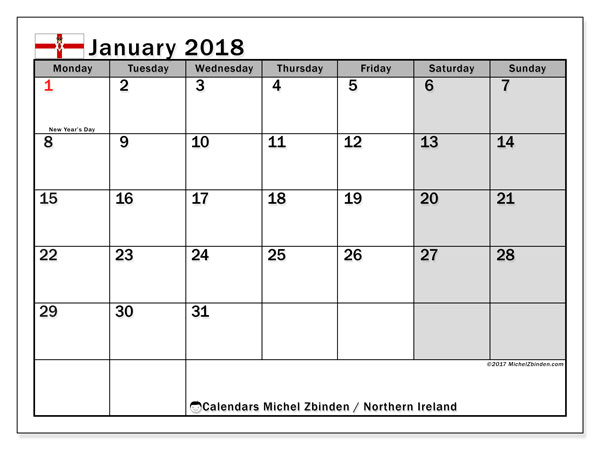 Free printable calendar January 2018, with the holidays in Northern Ireland. Monthly calendar.