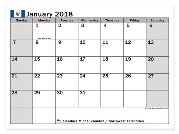 Calendar January 2018, with the holidays of Northwest Territories. Free printable bullet journal.