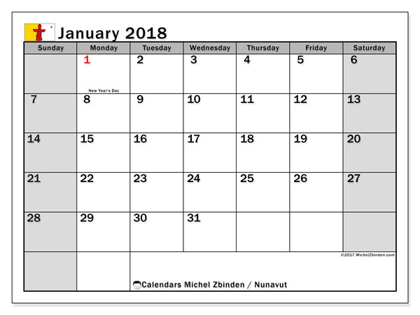 Calendar January 2018, with the holidays of Nunavut. Free printable monthly planner.