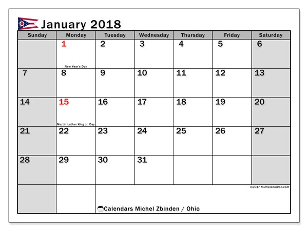 Calendar January 2018, with the holidays of Ohio. Bullet journal to print free.