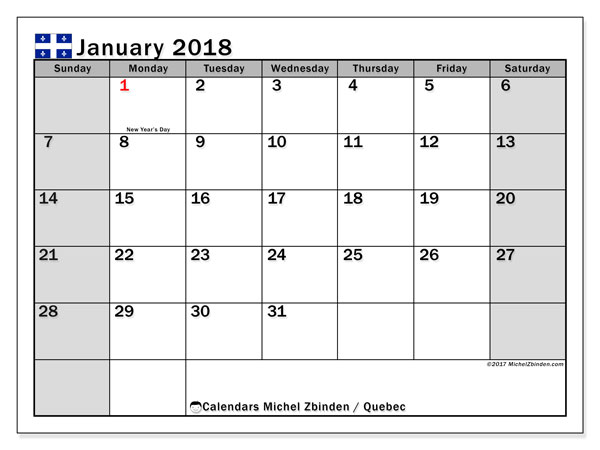 Free printable calendar January 2018, with holidays for Quebec