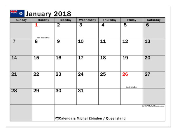 Calendar January 2018, with the holidays of Queensland. Planner to print free.