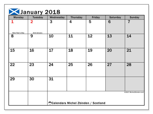 Calendar January 2018, with the holidays of Scotland. Monthly calendar to print free.