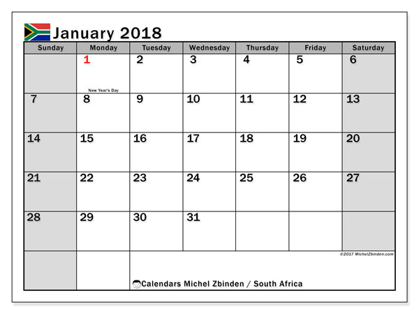 Calendar January 2018, with the holidays of South Africa. Free printable monthly planner.