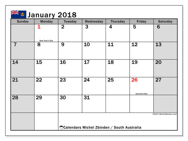 Monthly Calendar Qld : Calendar january south australia