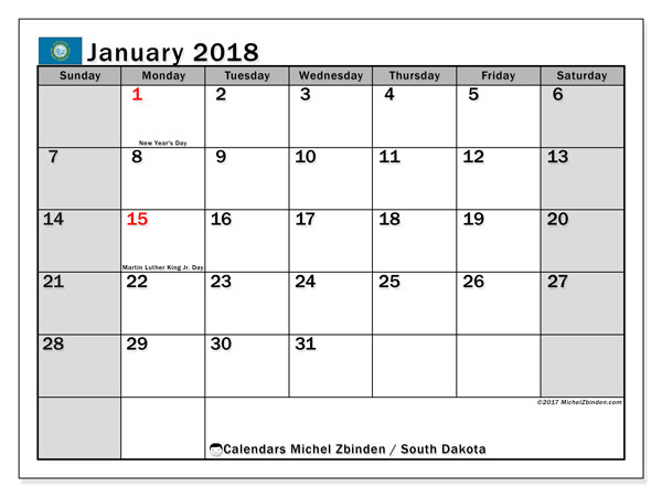 Calendar January 2018, with the holidays of South Dakota. Monthly planner to print free.