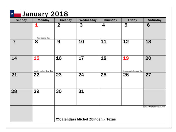 Calendar January 2018, with the holidays of Texas. Free planner to print.