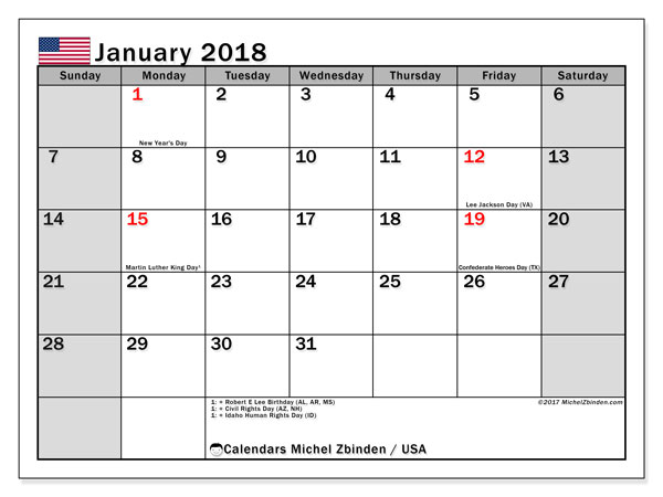 Calendar January 2018, with the holidays of the USA. Monthly planner to print free.