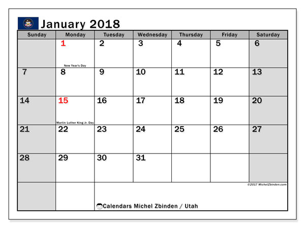 Calendar January 2018, with the holidays of Utah. Free planner to print.