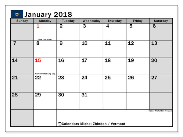 Calendar January 2018, with the holidays of Vermont. Free printable calendar.