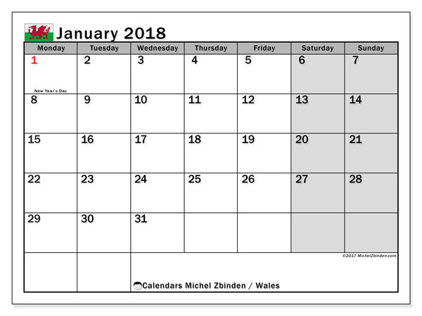 Calendar January 2018, with the holidays of Wales. Free printable bullet journal.