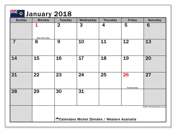 Calendar January 2018, with the holidays of Western Australia. Free printable planner.