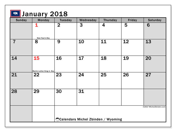 Calendar January 2018, with the holidays of Wyoming. Free printable planner.
