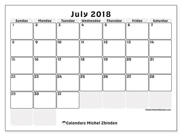 Calendar  July 2018, 44SS