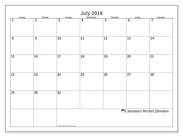 Calendar  July 2018, 53SS
