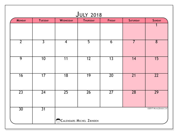 monthly calendar july 2018