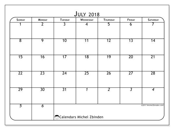 Calendar  July 2018, 67SS