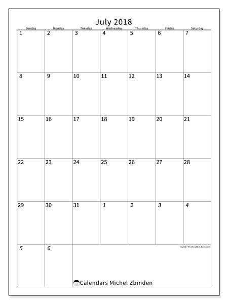 Calendar  July 2018, 68SS