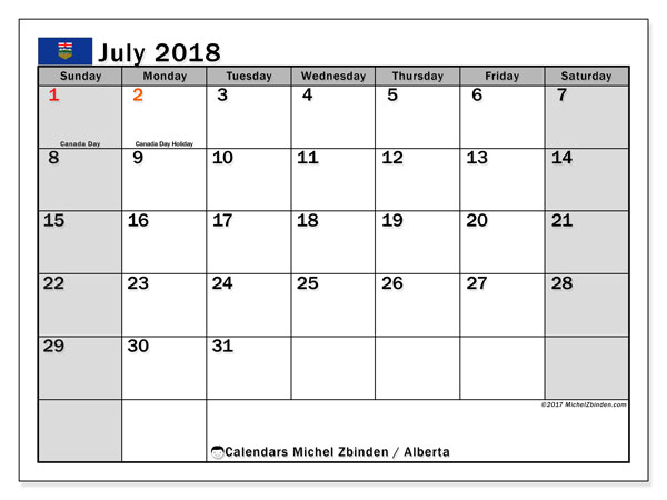 Calendar July 2018, with the holidays of Alberta. Free printable monthly planner.