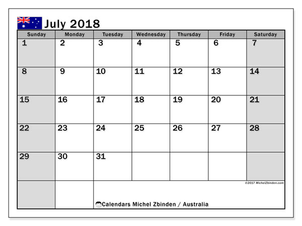 Calendar July 2018, with the holidays of Australia. Planner to print free.