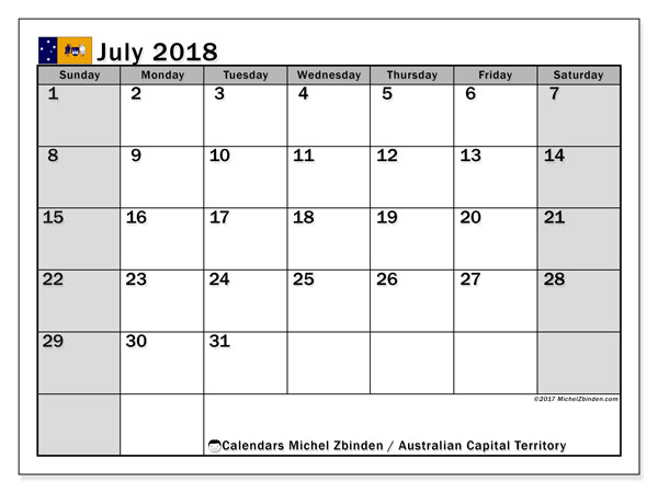 Calendar July 2018, with the holidays of Australian Capital Territory. Calendar to print free.