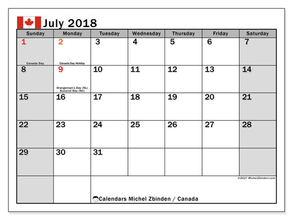 Calendar July 2018, with the holidays of Canada. Free printable planner.