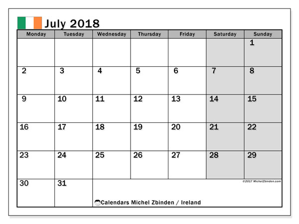 Calendar July 2018, with the holidays of Ireland. Calendar for the month to print free.