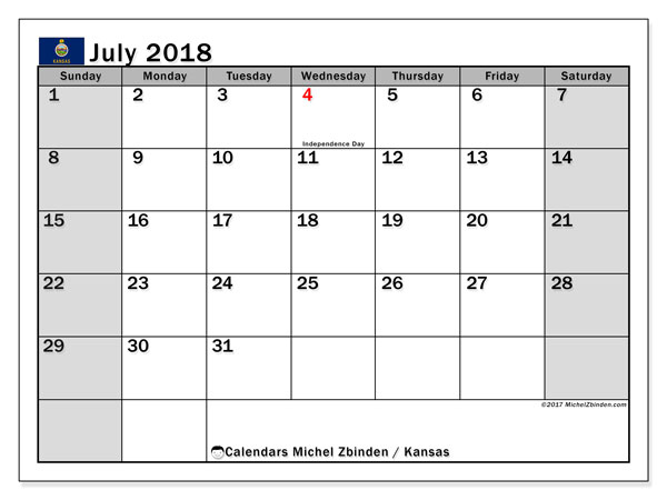 Printable Calendar Ks : Calendar july kansas michel zbinden en