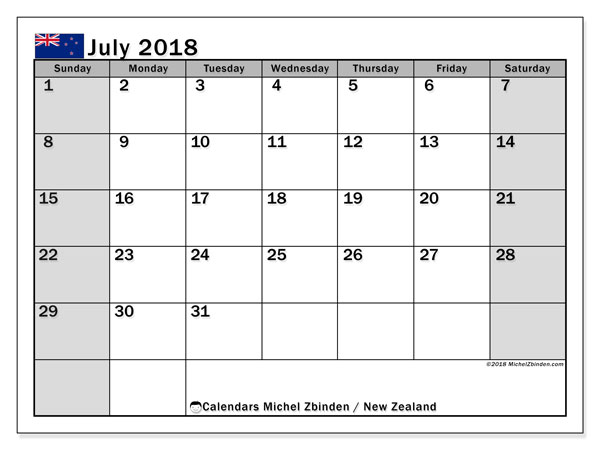 Calendar July 2018, with the holidays of New Zealand. Free printable monthly planner.