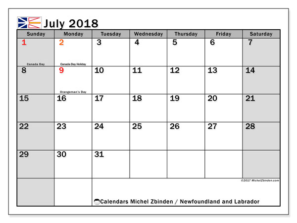 Calendar July 2018, with the holidays of Newfoundland and Labrador. Monthly calendar to print free.