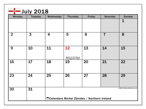 Calendar July 2018, with the holidays in Northern Ireland. Free planner to print.