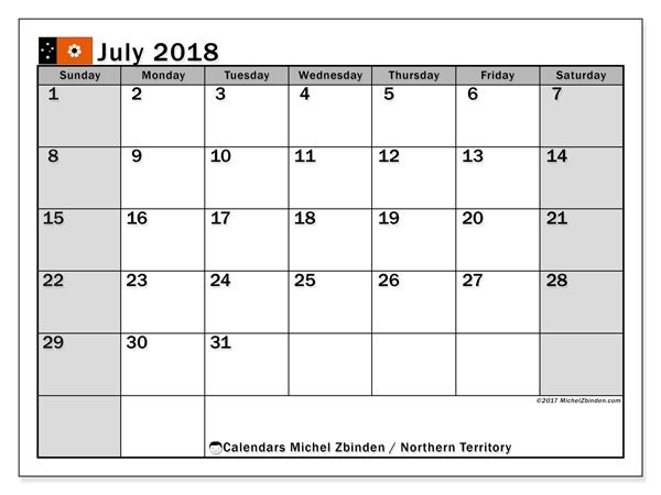 Calendar July 2018, with the holidays of Northern Territory. Calendar to print free.