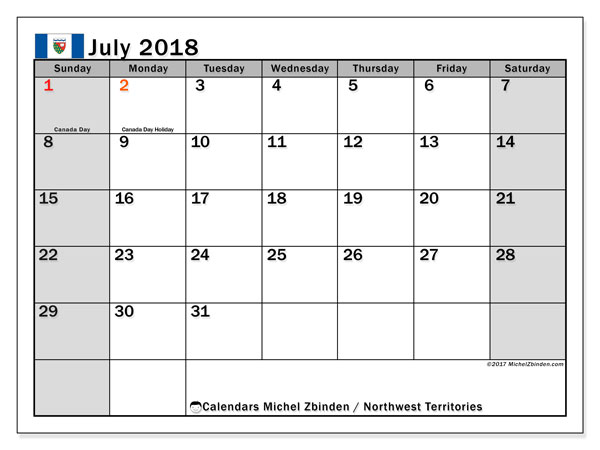 Calendar July 2018, with the holidays of Northwest Territories. Free planner to print.