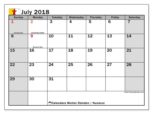 Calendar July 2018, with the holidays of Nunavut. Free printable bullet journal.