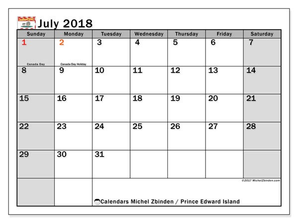 Calendar July 2018, with the holidays of Prince Edward Island. Monthly calendar to print free.