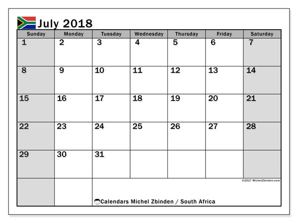 Calendar July 2018, with the holidays of South Africa. Free calendar to print.
