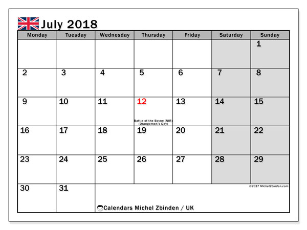 Calendar July 2018, with the holidays of the UK. Bullet journal to print free.