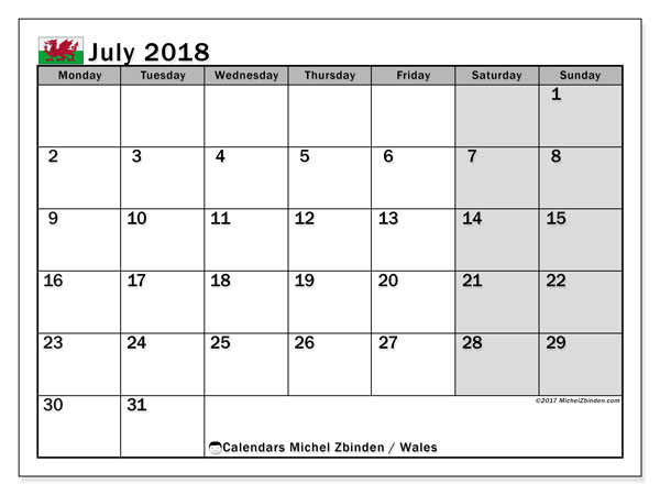 Free printable calendar July 2018, with holidays for Wales