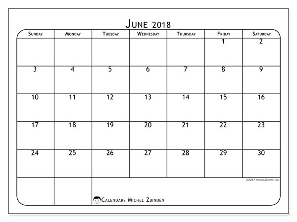 Calendar  June 2018, 51SS