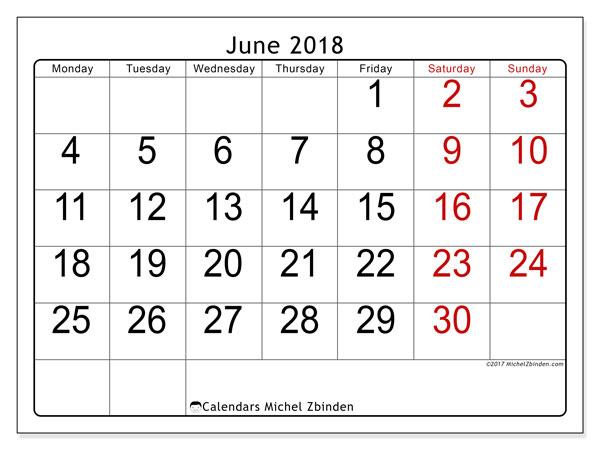 June 2018 Calendars Ms Michel Zbinden En