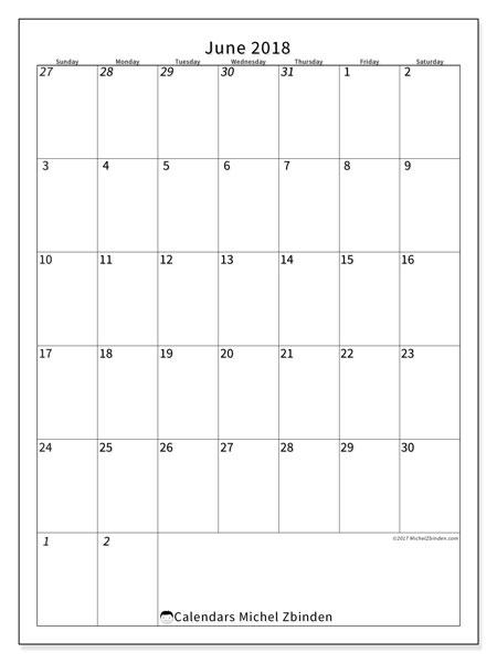 Calendar  June 2018, 68SS